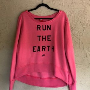 Nike heavy weight RUN THE EARTH hi low sweatshirt
